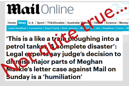 Mail Online headline, as above: Not quite true...