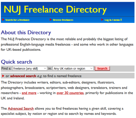 Freelance Directory screenshot